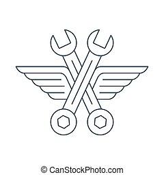 Automechaniker Auto Werkstatt Logo, Icon mit Flügeln