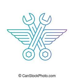 Automechaniker Werkstatt, Ikone mit Flügeln