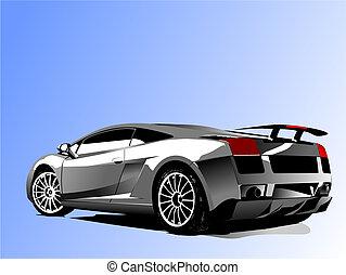 Automobil-Show mit Konzept-Auto-Vektor-Illustration