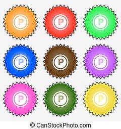 Autoparkzeichen. Ein Satz von neun verschiedenen farbigen Etiketten. Vector