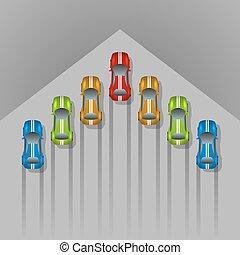 Autorennen Konzept Pfeil geformt Hintergrund mit Kopierraum.