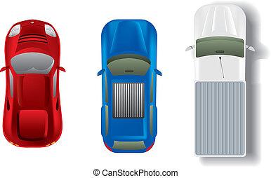 autos, oberseite, satz, verschieden, ansicht