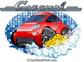 Autowaschschild mit Schwamm