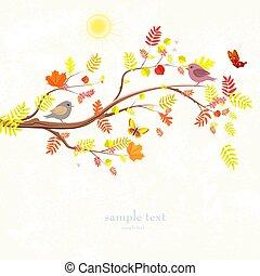 Autumn Einladungskarte mit Baumzweig und süßen Vögeln für.