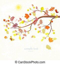 Autumn Einladungskarte mit Zweig des Baumes und ein süßer Vogel für dich.