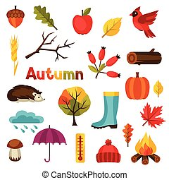 Autumn Icon und Objekte für Design.