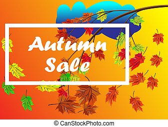 Autumn Verkauf Vektor Banner Hintergrund mit Zweig der Herbstblätter mit Herbstblättern Elemente, Regenwolke, Herbsttypographie und Text im Hintergrund der Herbstfarben. Vector Illustration.