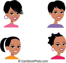 avatar, frauen, karikatur, portrait- abbildung