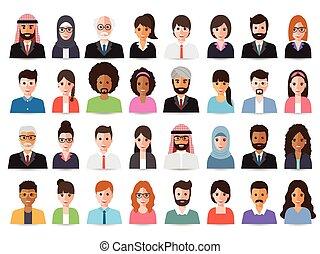 avatars., geschäftsmänner, geschäftsfrauen
