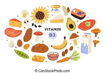avocado, sammlung, lebensmittel, diätetisch, natürlich, abbildung, niacin., banane, products., molkerei, nüsse, produkte, organische , enthalten, vektor, karikatur, sources., pilze, usw., b3, ernährung, wohnung, vitamin
