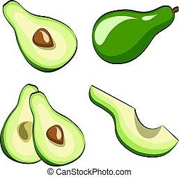 Avocado Vegetable Set auf Pop Art Retro Comic Stil. Vector Illustration auf weißem Hintergrund macht 10