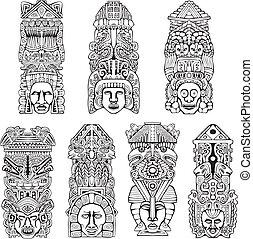 Azteken-Totempfähle
