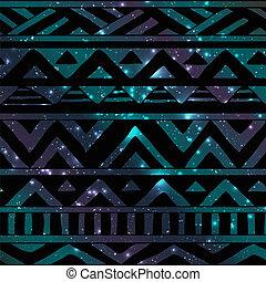 Azteken tribal, nahtloses Muster auf kosmischem Hintergrund.