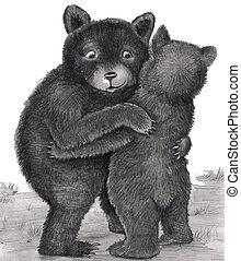 bär, hug., umarmen, bã¤ren, zwei, natur, heraus