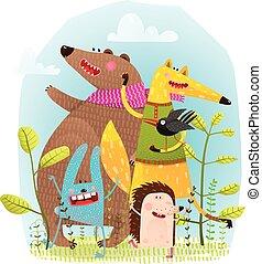 Bärenhase und krähen lustige Freunde