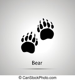 Bärenpfoten, Treppenabdrücke, einfache schwarze Silhouette auf grau.