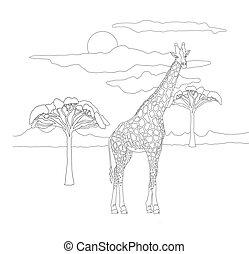 bäume., art, färbung, giraffe, reizend, lines.coloring, tiere, pflanzenfresser, fleckig, himmelsgewölbe, hintergrund, erwachsene, kinder, schöne , savanne, landschaftsbild, buch