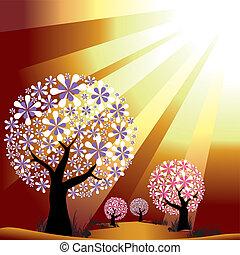 Bäume auf goldenem Lichthintergrund entfernen