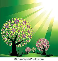 Bäume auf grünem Lichtfeld entfernen