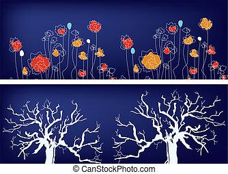 bäume, design, ethnisch, blumen-, banner, gras