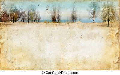 Bäume entlang eines Sees auf Grunge-Hintergrund