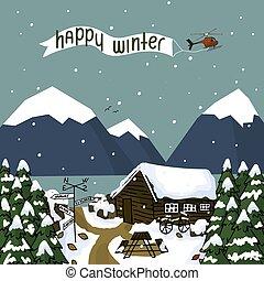 bäume, landschaftsbild, berge, winter, tisch, hof, wald, schnee, steht, hölzern, meer, bank, ungefähr, haus, alles
