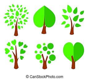 Bäume. Sammlung von Designelementen. Icons bereit. Vector Illustration