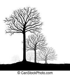 Bäume Silhouette, Vektorkunst
