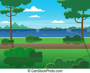 bäume, sommer, über, wald, river., berge, fluß, draußen, recreation., landschaftsbild