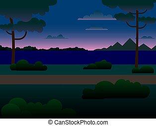 bäume, wald, river., berge, fluß, nacht, über, landschaftsbild