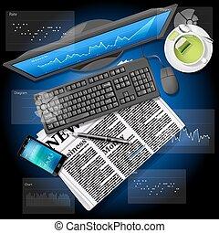 Börsengrafik auf Computerbildschirm und Handy mit Zeitung.