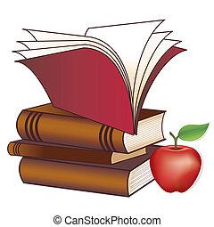 Bücher, Apfel für den Lehrer