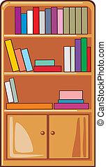 Bücher auf Holzregalen.