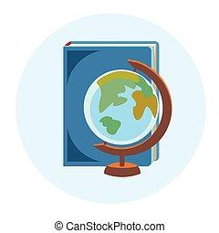 Bücher Globus Schule Geographie Bildung bunte Web Icon.