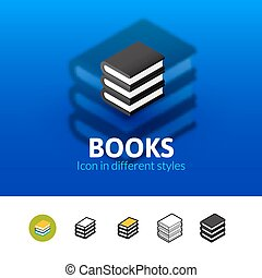 Bücher Icon in verschiedenen Stil.