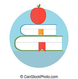 Bücher mit Apfel. Bildungskonzept