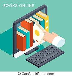 Bücher Online-Bibliothek isometrische 3D-Wohnkonzept