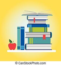 Bücher stapeln bunte Ikonen.
