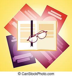 Bücher stapeln sich mit Brillensymbol.