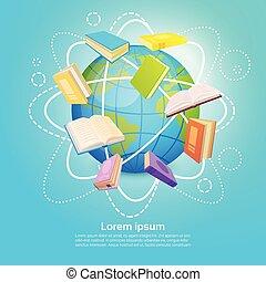 Bücherbibliotheken lesen das globale Wissenskonzept der Schulbildung.