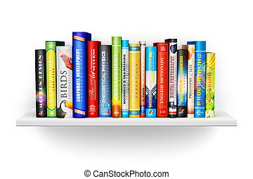 Bücherregal mit farbigen Hardcover-Cbooks.