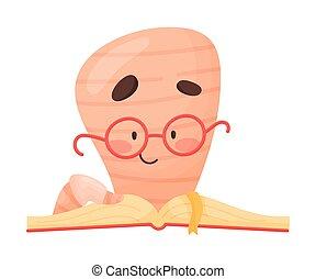 bücherwurm, liebling, vektor, zeichen, abbildung, lesende , lächeln, buch