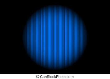 Bühne mit blauem Vorhang und großes Licht