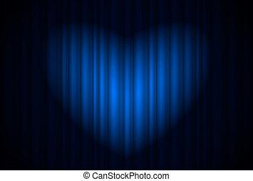 Bühne mit blauem Vorhang und Scheinwerfer groß, herzförmig