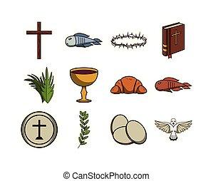 bündel, heiligenbilder, erstkommunion, satz
