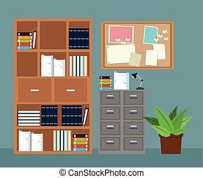 Büro-Möbel-Kabinett mit Topfpapier.