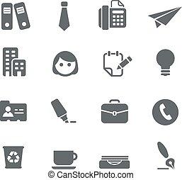 Büro- und Geschäftssymbole.
