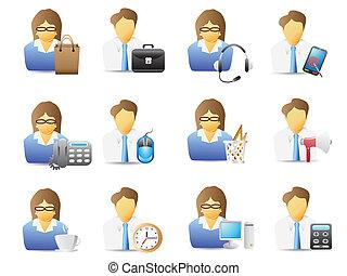 Büroangestellte mit Bürowerkzeugen