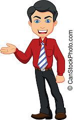 Büroarbeiter-Karikatur präsentiert