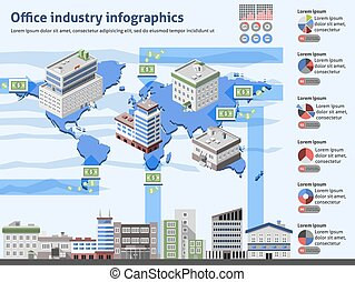 Büroindustrie-Infographien.